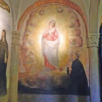 Affresco della Madonna Immacolata con il prebendario Filippo Schiavi inginocchiato sulla destra nella cripta del Duomo