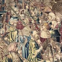 Nella foto suonatori di tromba, in uno dei due straordinari arazzi fiamminghi del XV secolo