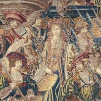 Manifattura di Bruxelles, primo quarto del XVI secolo, Corteo regale di nozze, particolare. Arazzo in lana e seta